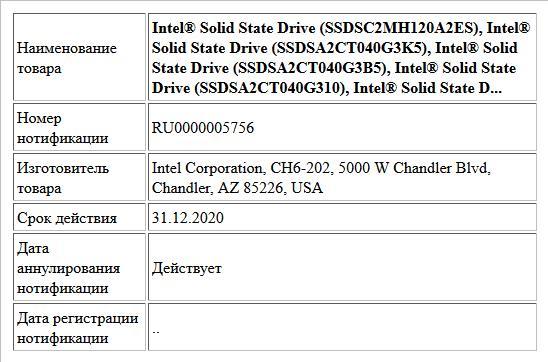 Intel® Solid State Drive (SSDSC2MH120A2ES), Intel® Solid State Drive (SSDSA2CT040G3K5), Intel® Solid State Drive (SSDSA2CT040G3B5), Intel® Solid State Drive (SSDSA2CT040G310), Intel® Solid State D...