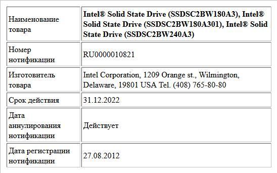 Intel® Solid State Drive (SSDSC2BW180A3), Intel® Solid State Drive (SSDSC2BW180A301), Intel® Solid State Drive (SSDSC2BW240A3)