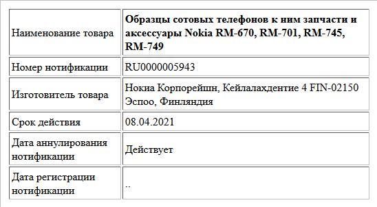 Образцы сотовых телефонов к ним запчасти и аксессуары Nokia RM-670, RM-701, RM-745, RM-749