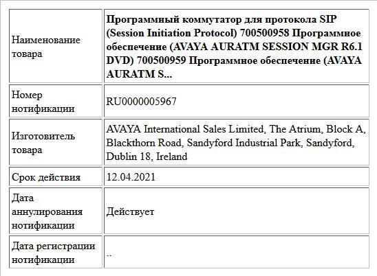 Программный коммутатор для протокола SIP (Session Initiation Protocol) 700500958     Программное обеспечение (AVAYA AURATM SESSION MGR R6.1 DVD) 700500959     Программное обеспечение (AVAYA AURATM S...