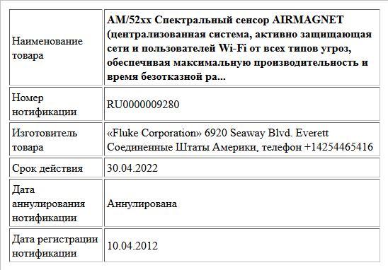 АМ/52хх Спектральный сенсор AIRMAGNET (централизованная система, активно защищающая сети и пользователей Wi-Fi от всех типов угроз, обеспечивая максимальную производительность и время безотказной ра...