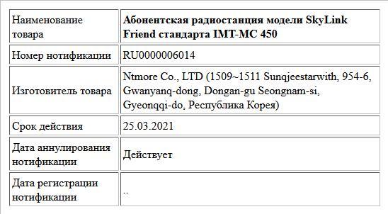 Абонентская радиостанция модели SkyLink Friend стандарта IMT-MC 450