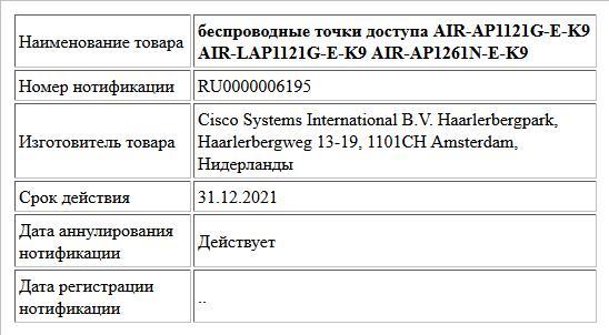беспроводные точки доступа AIR-AP1121G-E-K9 AIR-LAP1121G-E-K9 AIR-AP1261N-E-K9