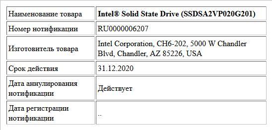 Intel® Solid State Drive (SSDSA2VP020G201)