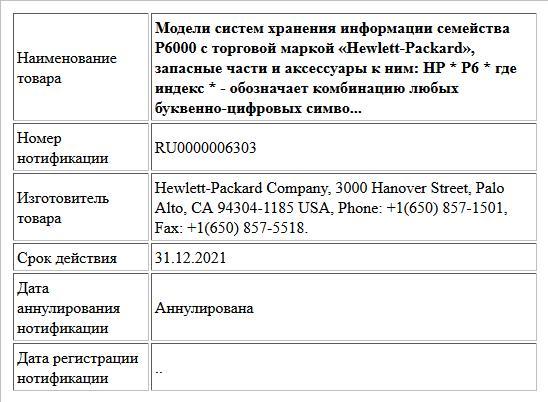 Модели систем хранения информации семейства Р6000 с торговой маркой «Hewlett-Packard», запасные части и аксессуары к ним: HP * Р6 * где индекс * - обозначает комбинацию любых буквенно-цифровых симво...