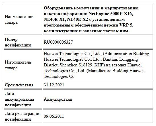 Оборудование коммутации и маршрутизации пакетов информации NetEngine 5000E-X16, NE40E-X1, NE40E-X2 с установленным программным обеспечением версии VRP 5, комплектующие и запасные части к ним