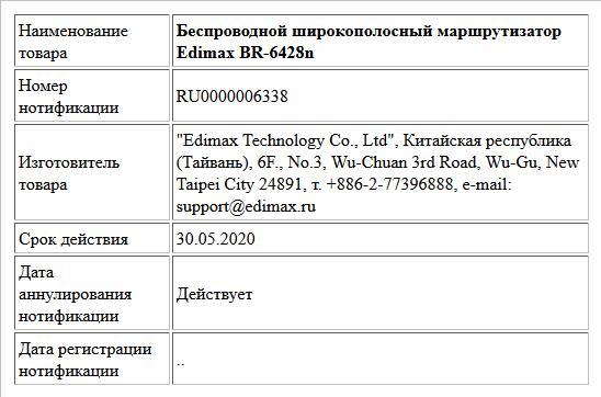 Беспроводной широкополосный маршрутизатор Edimax BR-6428n