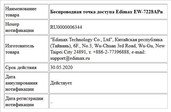 Беспроводная точка доступа Edimax EW-7228APn