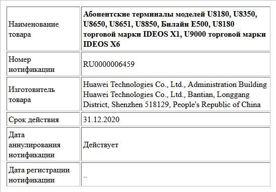 Абонентские терминалы моделей U8180, U8350, U8650, U8651, U8850, Билайн E500, U8180 торговой марки IDEOS X1, U9000 торговой марки IDEOS X6