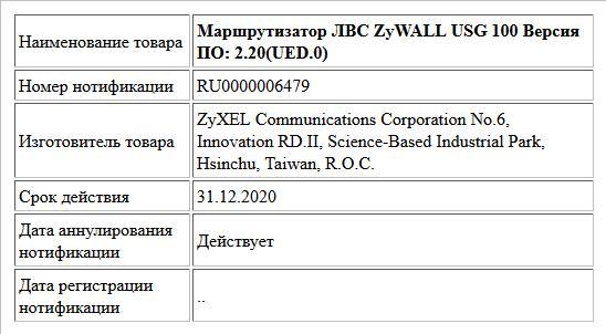 Маршрутизатор ЛВС ZyWALL USG 100 Версия ПО: 2.20(UED.0)