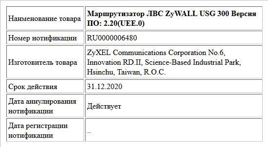 Маршрутизатор ЛВС ZyWALL USG 300 Версия ПО: 2.20(UEE.0)