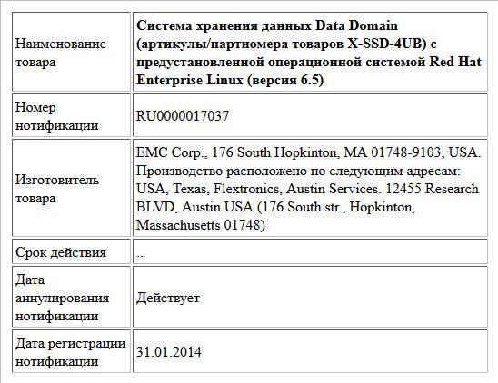 Система хранения данных Data Domain (артикулы/партномера товаров X-SSD-4UB) с предустановленной операционной системой Red Hat Enterprise Linux (версия 6.5)