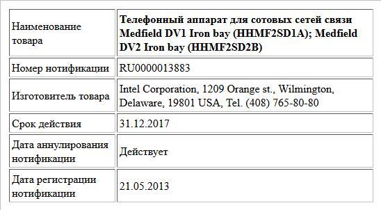 Телефонный аппарат для сотовых сетей связи   Medfield DV1 Iron bay (HHMF2SD1A);  Medfield DV2 Iron bay (HHMF2SD2B)