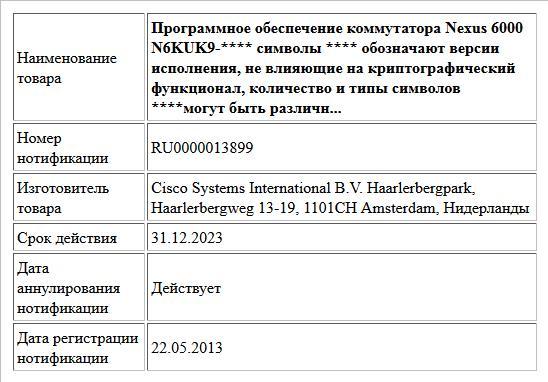 Программное обеспечение коммутатора Nexus 6000   N6KUK9-****  символы **** обозначают версии исполнения, не влияющие на криптографический функционал,  количество и типы символов ****могут быть различн...