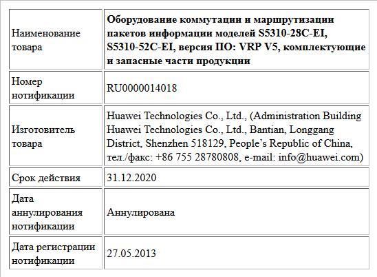Оборудование коммутации и маршрутизации пакетов информации моделей S5310-28C-EI, S5310-52C-EI, версия ПО: VRP V5, комплектующие и запасные части продукции