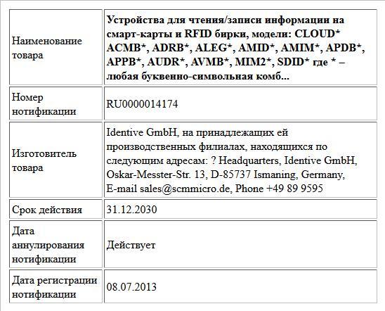 Устройства для чтения/записи информации на смарт-карты и RFID бирки, модели: CLOUD*   ACMB*, ADRB*, ALEG*, AMID*, AMIM*, APDB*, APPB*, AUDR*, AVMB*, MIM2*, SDID* где * – любая буквенно-символьная комб...