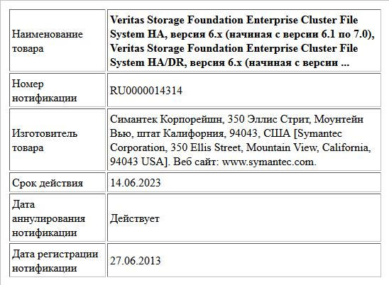 Veritas Storage Foundation Enterprise Cluster File System HA, версия 6.x (начиная с версии 6.1 по 7.0),   Veritas Storage Foundation Enterprise Cluster File System HA/DR, версия 6.x (начиная с версии ...