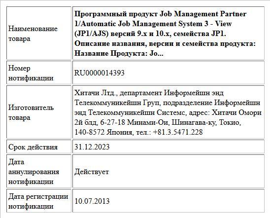 Программный продукт Job Management Partner 1/Automatic Job Management System 3 - View (JP1/AJS) версий 9.x и 10.х, семейства JP1. Описание названия, версии и семейства продукта:  Название Продукта: Jo...
