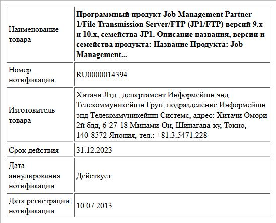 Программный продукт Job Management Partner 1/File Transmission Server/FTP (JP1/FTP) версий 9.x и 10.x, семейства JP1. Описание названия, версии и семейства продукта:  Название Продукта: Job Management...