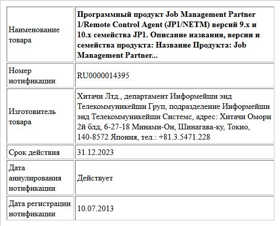Программный продукт Job Management Partner 1/Remote Control Agent (JP1/NETM) версий 9.x и 10.x семейства JP1. Описание названия, версии и семейства продукта:  Название Продукта: Job Management Partner...