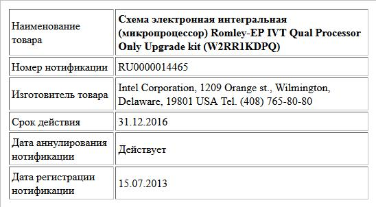 Схема электронная интегральная (микропроцессор)  Romley-EP IVT Qual Processor Only Upgrade kit (W2RR1KDPQ)