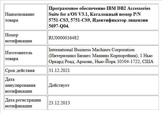 Программное обеспечение IBM DB2 Accessories Suite for z/OS V3.1, Каталожный номер P/N 5751-CS3, 5751-CS9, Идентификатор лицензии 5697-Q04.