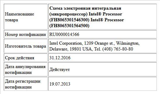 Схема электронная интегральная (микропроцессор)  Intel® Processor (FH8065301546300)  Intel® Processor (FH8065301564500)