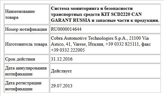 Система мониторинга и безопасности транспортных средств KIT SCD2220 CAN GARANT RUSSIA и запасные части к продукции.
