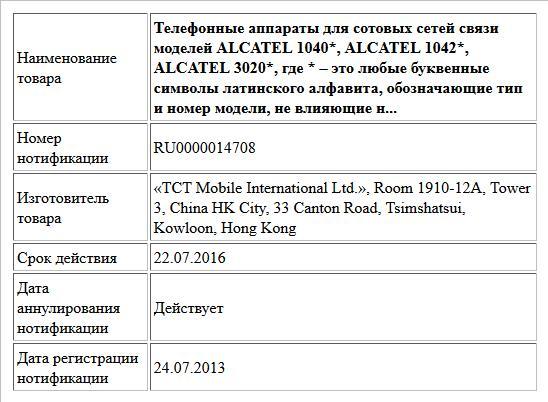 Телефонные аппараты для сотовых сетей связи моделей ALCATEL 1040*, ALCATEL 1042*, ALCATEL 3020*, где * – это любые буквенные символы латинского алфавита, обозначающие тип и номер модели, не влияющие н...