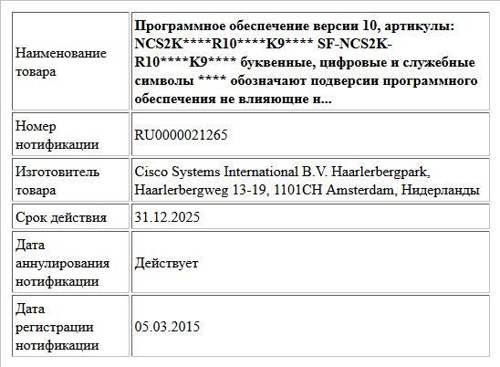 Программное обеспечение версии 10, артикулы: NCS2K****R10****K9**** SF-NCS2K-R10****K9**** буквенные, цифровые и служебные символы **** обозначают подверсии программного  обеспечения не влияющие н...