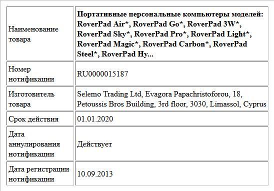 Портативные персональные компьютеры  моделей: RoverPad  Air*, RoverPad Go*, RoverPad 3W*, RoverPad Sky*, RoverPad Pro*, RoverPad Light*, RoverPad Magic*, RoverPad Carbon*, RoverPad Steel*, RoverPad Hy...