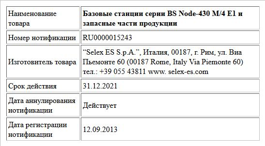 Базовые станции серии BS Node-430 М/4 Е1 и запасные части продукции
