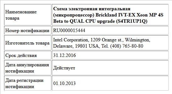 Схема электронная интегральная (микропроцессор)  Brickland IVT-EX Xeon MP 4S Beta to QUAL CPU upgrade   (S4TR1UP1Q)