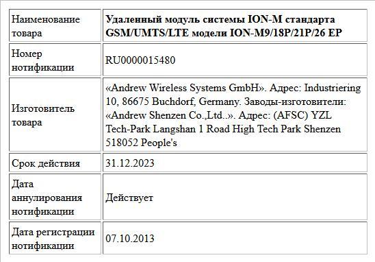 Удаленный модуль системы ION-M стандарта GSM/UMTS/LTE модели ION-M9/18P/21P/26 EP