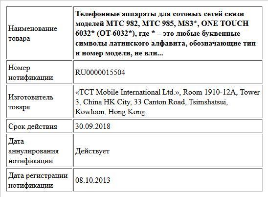 Телефонные аппараты для сотовых сетей связи моделей MTC 982, MTC 985, MS3*, ONE TOUCH 6032* (OT-6032*), где * – это любые буквенные символы латинского алфавита, обозначающие тип и номер модели, не вли...