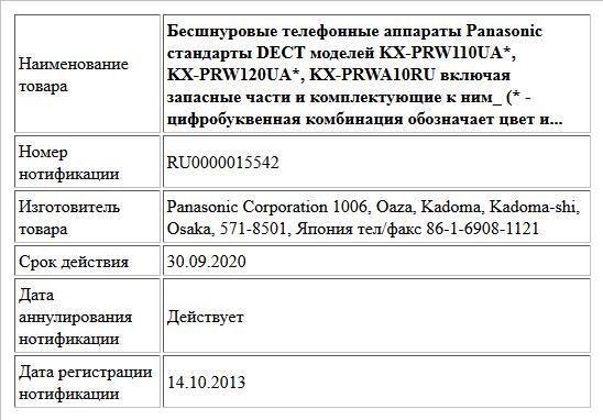 Бесшнуровые телефонные аппараты Panasonic стандарты DECT моделей KX-PRW110UA*, KX-PRW120UA*, KX-PRWA10RU включая запасные части и комплектующие к ним_ (* - цифробуквенная комбинация обозначает цвет и...