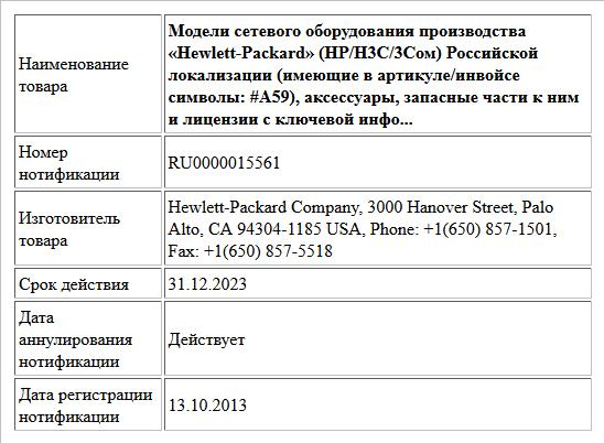 Модели сетевого оборудования производства «Hewlett-Packard» (НР/Н3С/3Сом) Российской локализации (имеющие в артикуле/инвойсе символы: #A59), аксессуары, запасные части к ним и лицензии с ключевой инфо...