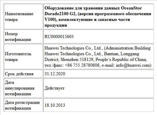 Оборудование для хранения данных OceanStor Dorado2100 G2, (версия программного обеспечения V100), комплектующие и запасные части продукции