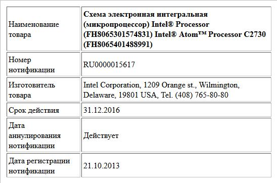 Схема электронная интегральная (микропроцессор)  Intel® Processor (FH8065301574831)  Intel® Atom™ Processor C2730 (FH8065401488991)