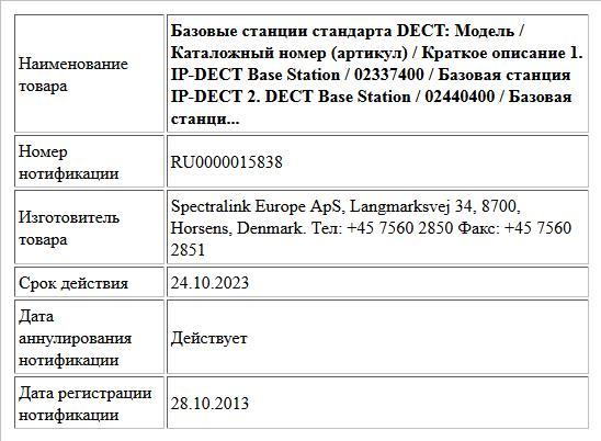 Базовые станции стандарта DECT:  Модель /  Каталожный номер (артикул) / Краткое описание  1. IP-DECT Base Station / 02337400 / Базовая станция IP-DECT  2. DECT Base Station / 02440400 / Базовая станци...