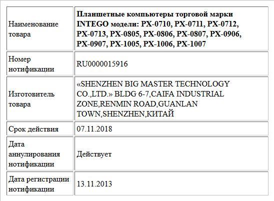 Планшетные компьютеры торговой марки INTEGO модели: PX-0710, PX-0711, PX-0712, PX-0713, PX-0805, PX-0806, PX-0807, PX-0906, PX-0907, PX-1005, PX-1006, PX-1007