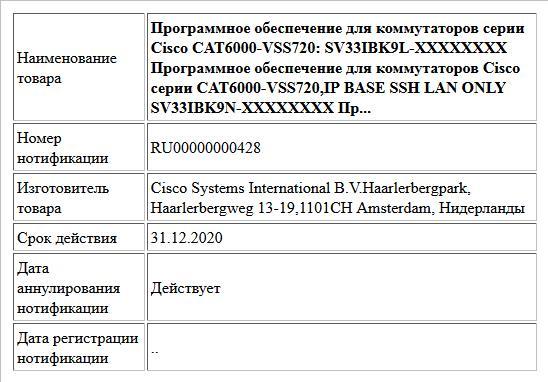 Программное обеспечение для коммутаторов серии Cisco CAT6000-VSS720: SV33IBK9L-XXXXXXXX Программное обеспечение для коммутаторов Cisco серии CAT6000-VSS720,IP BASE SSH LAN ONLY SV33IBK9N-XXXXXXXX Пр...