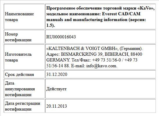 Программное обеспечение торговой марки «KaVo», модельное наименование:  Everest CAD/CAM manuals and manufacturing information (версия: 1.5).