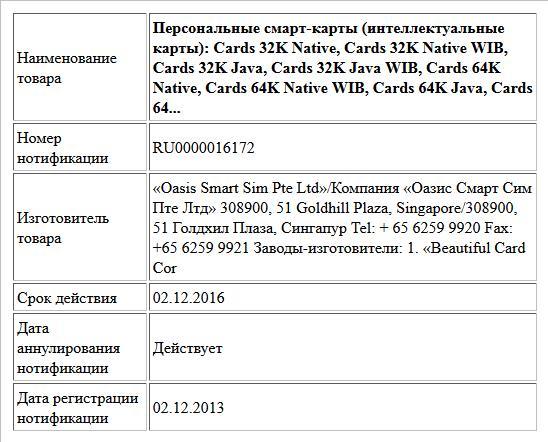 Персональные смарт-карты (интеллектуальные  карты):  Cards 32K Native,  Cards 32K Native WIB,  Cards 32K Java,  Cards 32K Java WIB,  Cards 64K Native,  Cards 64K Native WIB,  Cards 64K Java,  Cards 64...
