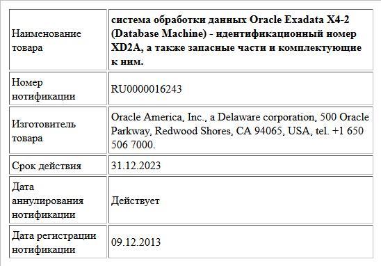 система обработки данных Oracle Exadata X4-2 (Database Machine) - идентификационный номер XD2A, а также запасные части и комплектующие к ним.