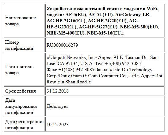 Устройства межсистемной связи с модулями WiFi, модели: AF-5(EU), AF-5U(EU). AirGateway-LR, AG-HP-2G16(EU), AG-HP-2G20(EU), AG- HP-5G23(EU), AG-HP-5G27(EU). NBE-M5-300(EU), NBE-M5-400(EU). NBE-M5-16(EU...