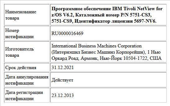 Программное обеспечение IBM Tivoli NetView for z/OS V6.2, Каталожный номер P/N 5751-CS3, 5751-CS9, Идентификатор лицензии 5697-NV6.