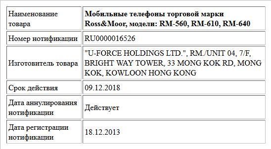 Мобильные телефоны торговой марки Ross&Moor, модели: RM-560, RM-610, RM-640