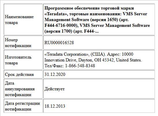 Программное обеспечение торговой марки «Teradata», торговые наименования:  VMS Server Management Software (версия 1650) (арт. F444-6716-0000),  VMS Server Management Software (версия 1700) (арт. F444-...