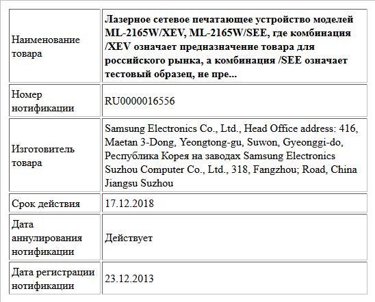 Лазерное сетевое печатающее устройство моделей ML-2165W/XEV, ML-2165W/SEE, где комбинация /XEV означает предназначение товара для российского рынка, а комбинация /SEE означает тестовый образец, не пре...